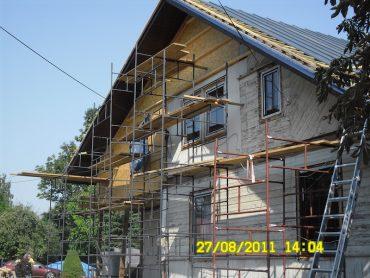 Korycin - przebudowa starego domu z bali i dobudowa piętra w technologi szkieletowej