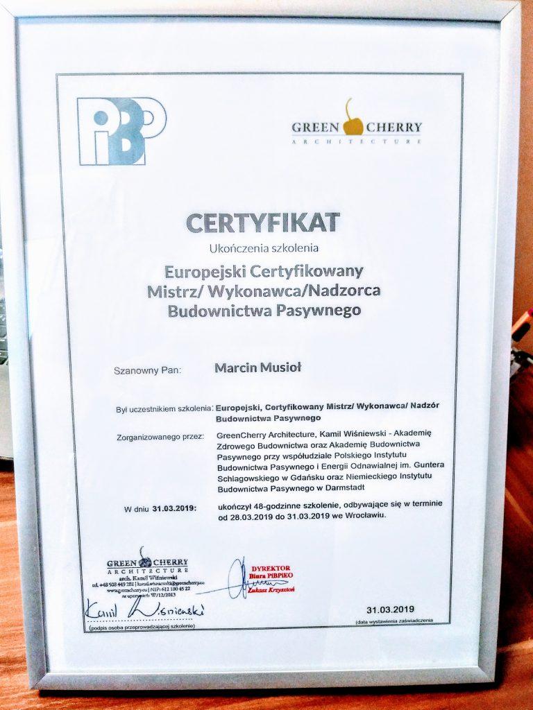 Certyfikat Budownictwa Pasywnego
